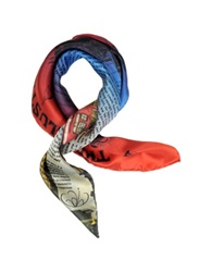 Julia Cocco' The Illustrated London News Print Silk Bandanna Red Electric Blue