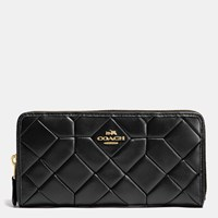Coach Canyon Quilt Accordion Zip Wallet In Calf Leather Light Gold Black