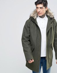 Fred Perry Parka In Wool With Faux Fur Trim In Thorn Thorn Green