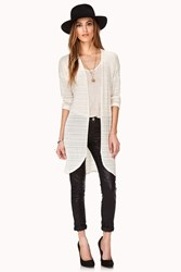 Forever 21 Open Knit Longline Cardigan Cream