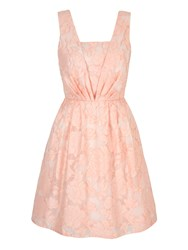 Yumi Floral Jacquard Party Dress Coral