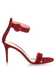 Gianvito Rossi Antigua Contrast Stitch Suede Sandals Dark Red