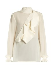Stella Jean Intendere Ruffled Silk Crepe Blouse Ivory