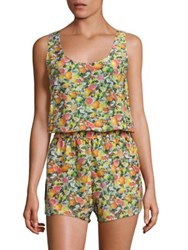 Stella Mccartney Printed Cotton And Silk All In One Romper Yellow Citrus