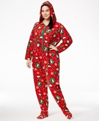 Hello Kitty Plus Size Holiday Hooded Footed Jumpsuit Red Santa Kitty