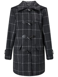 Four Seasons Check Duffle Coat Charcoal Black
