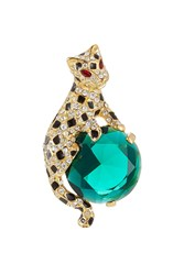 Kenneth Jay Lane Crystal Embellished Cat Brooch Multicolor