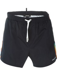 Dsquared2 Beachwear Rainbow Stripes Swim Shorts Blue