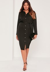 Missguided Plus Size Satin Button Through Belted Shirt Dress Black Black