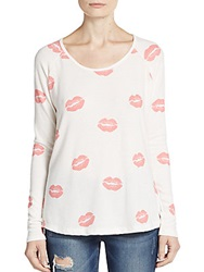 Saks Fifth Avenue Red Smooches Printed Top White