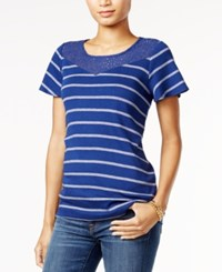 Tommy Hilfiger Striped Lace T Shirt Only At Macy's Blue Depth