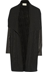 Dknypure Leather Sleeved Cable Knit Cardigan Black