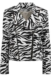 Balmain Zebra Print Denim Biker Jacket Animal Print