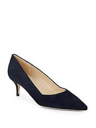 Saks Fifth Avenue Made In Italy Marcie Suede Kitten Heel Pumps Navy