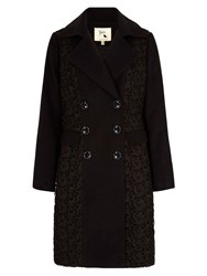 Yumi Lace Double Breasted Coat Black