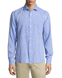 Neiman Marcus Linen Chambray Long Sleeve Button Front Shirt Water