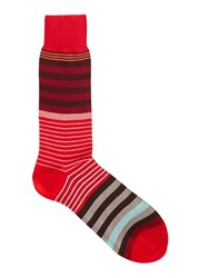 Paul Smith Red Striped Cotton Blend Socks