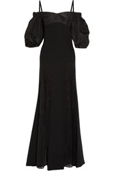 Alessandra Rich Lace And Moire Paneled Silk Blend Gown