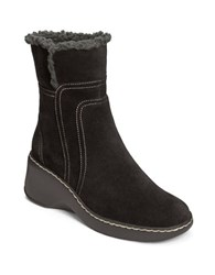 Aerosoles Side Kick Fleece Trim Suede Boots Black