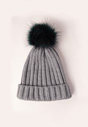 Missguided Contrast Faux Fur Pom Pom Beanie Hat Grey