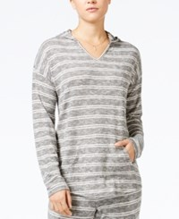 Hippie Rose Juniors' Striped Pullover Hoodie Black Ivory