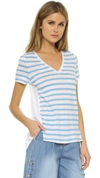 Tory Burch T Shirt With Woven Back Splash Sable Stripe