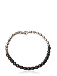 Title Of Work Ball Chain Bracelet With Leather Detail