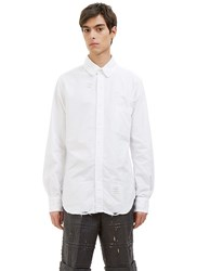 Thom Browne Phase 3 Distressed Rounded Collar Oxford Shirt White