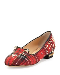 Charlotte Olympia Punk Kitty Plaid Loafer Tartan
