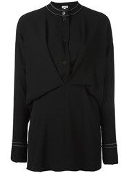 Loewe Draped Buttoned Placket Blouse Black