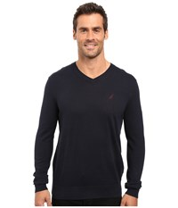 Nautica Solid V Neck Sweater Navy Men's Sweater