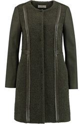 Tory Burch Heather Leather Trimmed Textured Wool Blend Coat Green