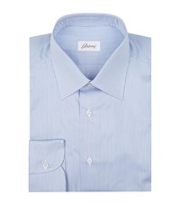 Brioni Fine Stripe Cotton Formal Shirt Male Blue