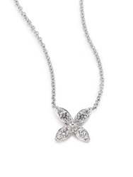 Kwiat Sunburst Diamond And 18K White Gold Small Flower Pendant Necklace White Diamond