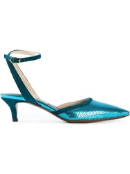 L'autre Chose Perforated Pointed Toe Pumps Blue