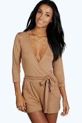 Boohoo Self Belt Relaxed Fit Playsuit Camel