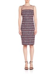 Teri Jon By Rickie Freeman Tweed Illusion Sheath Dress Navy