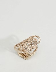 Lipsy Pave Filigree Ring Gold