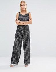 Fashion Union Extreme Wide Leg Trousers In Polka Dot Co Ord Black