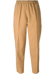 Forte Forte High Waisted Cropped Pants Brown