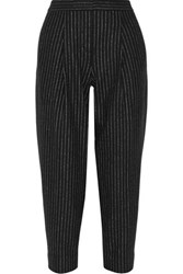 Dkny Cropped Pinstriped Wool Blend Tapered Pants Black
