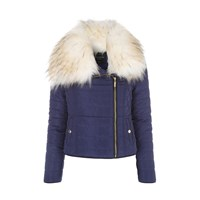 Jane Norman Faux Fur Puffer Coat Navy