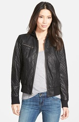 Levi's Quilted Faux Leather Bomber Jacket With Knit Hood Black