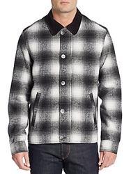 Madison Supply Ombre Plaid Wool Blend Jacket Black White