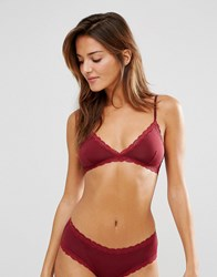 Monki Lace Trim Triangle Bra Wine Red