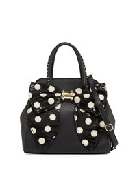 Betsey Johnson Oh Bow Sequined Faux Leather Satchel Bag Black Crea