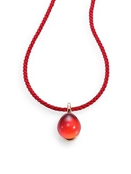 Pomellato Rouge Passion Tangerine Cabochon And Braided Cord Necklace Orange Sapphire