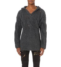 Blackmeans Cable Detail Wool Blend Hooded Jumper L.Gray