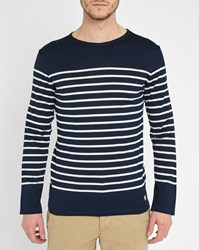 Armor Lux Blue Mercerised Long Sleeve Sailor Stripe Top