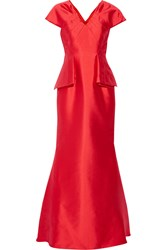 Mikael Aghal Faille Peplum Gown Red